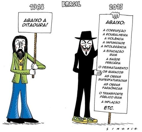 19jun2013---o-cartunista-simanca-fez-um-pararelo-entre-a-pauta-dos-protesto-contra-a-ditadura-militar-no-brasil-em-1968-e-a-pauta-dos-protestos-de-2013