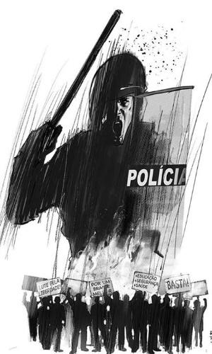 20jun2013---ilustrador-rod-reis-retrata-protestos-e-repressao-policial-em-arte-sobre-as-manifestacoes