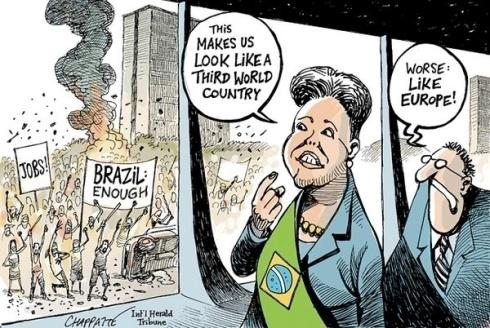 21jun2013---o-jornal-americano-the-new-york-times-publicou-uma-charge-sobre-os-protestos-brasileiros-nesta-quinta-feira-20-a-charge-mostra-a-presidente-dilma-rousseff-observando-uma-manifestacao