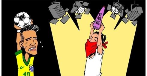 27jun2013---o-cartunista-carlos-latuff-retrata-a-dificuldade-que-a-selecao-brasileira-para-receber-atencao-em-meio-aos-protestos-que-acontecem-em-todo-o-pais